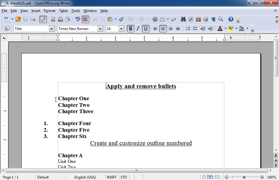 Apply bullets to the text Chapter One to Chapter Three. Use the symbol  (it is in the font Windings, the ninth symbol in the first line).  The bullet should be 18pt size and red color.