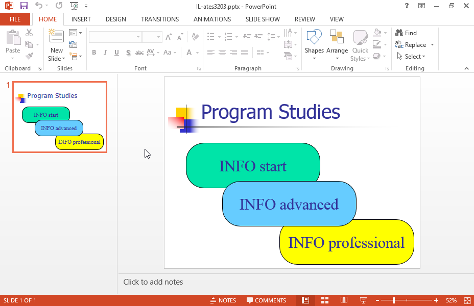 Create a new slide based on the word.rtf file located in the IL-ates\Word folder of your desktop and insert it at the end of the current presentation.